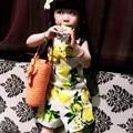Kimocat лимон девочек мальчиков комплектов одежды 2016 бренда детская одежда комплект лимон фрукты дизайн рукавов - + шорты 2 шт. одежда