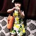 Kimocat limón niñas niños juegos de ropa 2016 ropa de marca Kids establece la fruta del limón diseño sin mangas T-shirt + Shorts 2 unids ropa