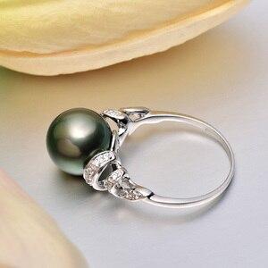 Image 2 - YS 18 k 純金海水真珠のリング 11 12 ミリメートル黒真珠リングタヒチパールウェディングリング