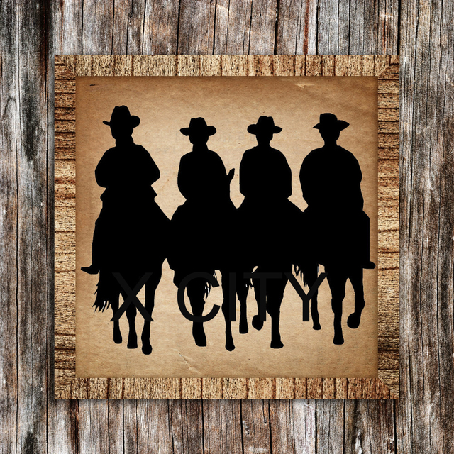 Western American Cowboys Riding Horses Silhouette RETRO WALL ART STICKER VINYL DECAL DIE CUT ROOM STENCIL & Western American Cowboys Riding Horses Silhouette RETRO WALL ART ...