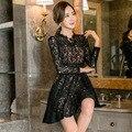 Новые поступления 2016 женщины платья платья с кружевом винтажное платье черный выдалбливают с длинным рукавом платье