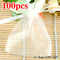White Organza Bag Wedding Decoration 100pcs 7x9 Favor Packaging Goodie Gifts Pouch Drawing Party Candy Bag Wrapping