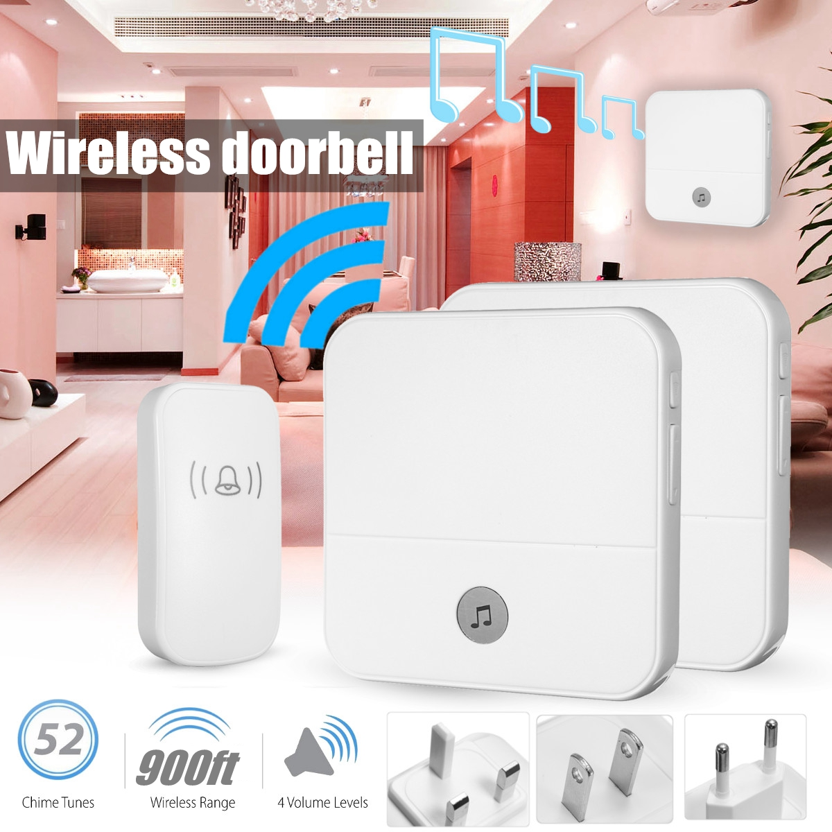 New Wireless Doorbell Waterproof 900ft Remote EU UK US Plug smart Door Bell 1 button 2 receiver AC 90~250V wireless cordless digital doorbell remote door bell chime waterproof eu us uk au plug 110 220v
