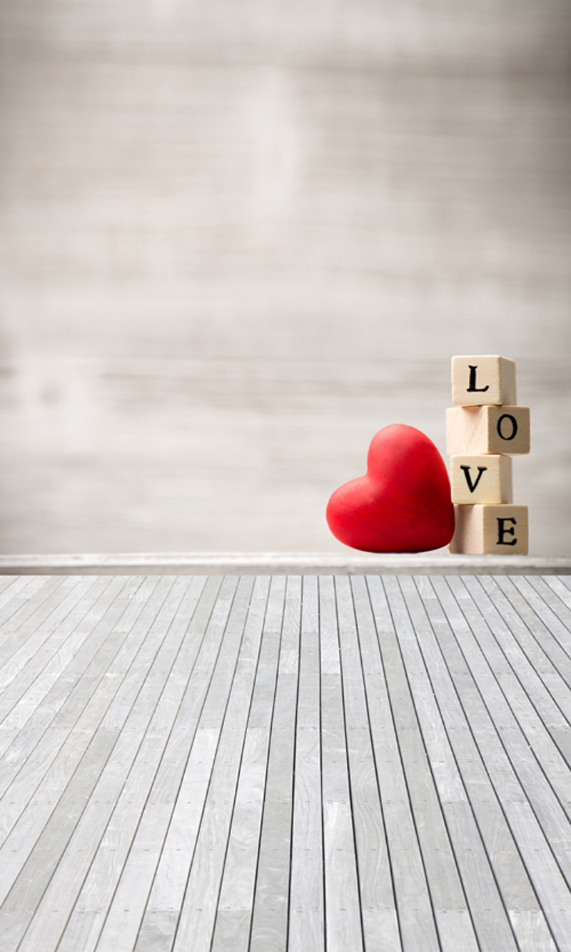 HUAYI Red wooden heart wooden background boke Photography