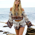 Spain Style Beach Resort Shorts Set 2016 Fashion Printed Slash Neck Flare Sleeve Short Tops + Elastic Waist Sexy Mini Shorts