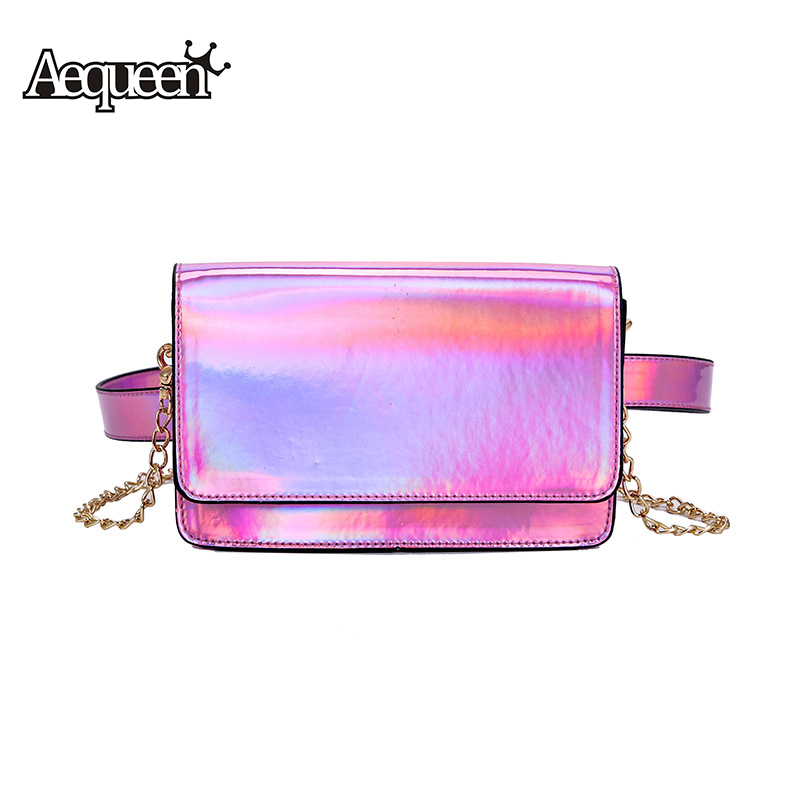 AEQUEEN Holographic Waist Packs Women Chain Bags Hologram Laser PU Leather Fanny Pack Crossbody Bag Pouch Belt Bags Ladies Purse holographic belt purse