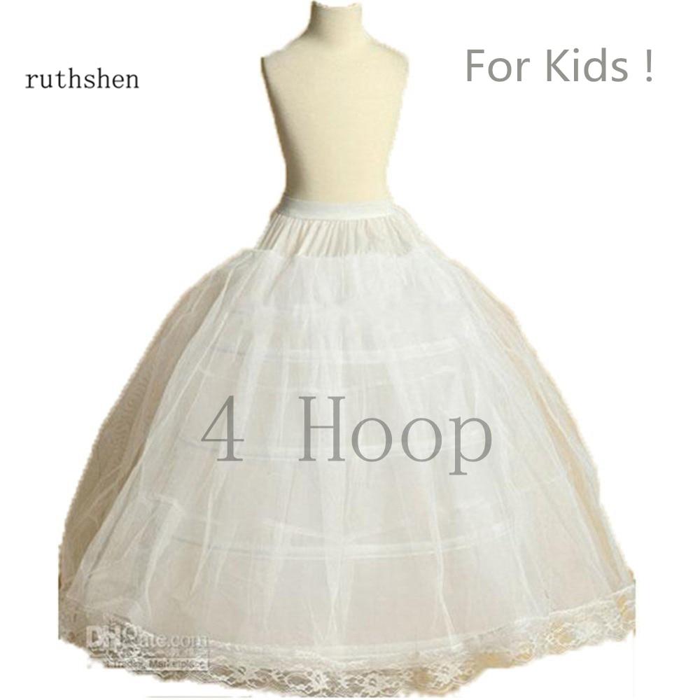Ruthshen New Arrival Flower Girls Petticoat 4 Hoop With Lace Appliques Little Kids Ball Gown Dress Underskirt Accessories