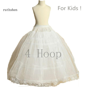 Image 1 - ruthshen New Arrival Flower Girls Petticoat 4 Hoop With Lace Appliques Little Kids Ball Gown Dress Underskirt Accessories