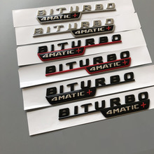 Matte Black BITURBO 4MATIC+  ABS Plastic Car Trunk Rear Letters Badge Emblem Emblems Decal Sticker for Mercedes Benz Turbo AMG