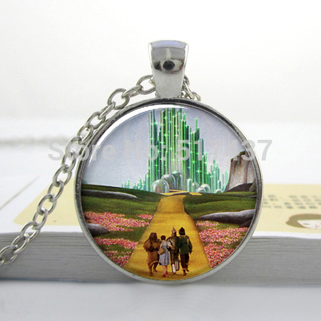 christmas gift yellow brick road oz art pendant necklace wizard of oz resin necklace oz jewelry glass photo pendant necklace in pendant necklaces from