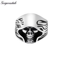 Gorgeous Tale High Quality Gold Detail The Death Skull Ring Men Movie Style 3 Colors Titanium