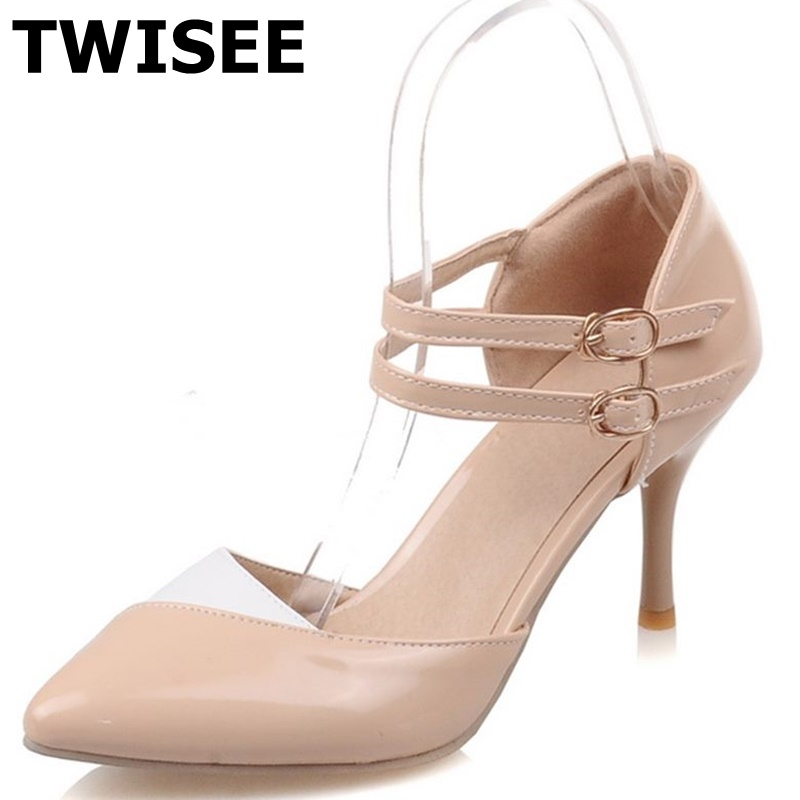 Spring Summer Mary Janes Women Shoes High Heel Platform Heels Pointed Toe Heels Ladies Buckle Strap Party Pumps size 34-43