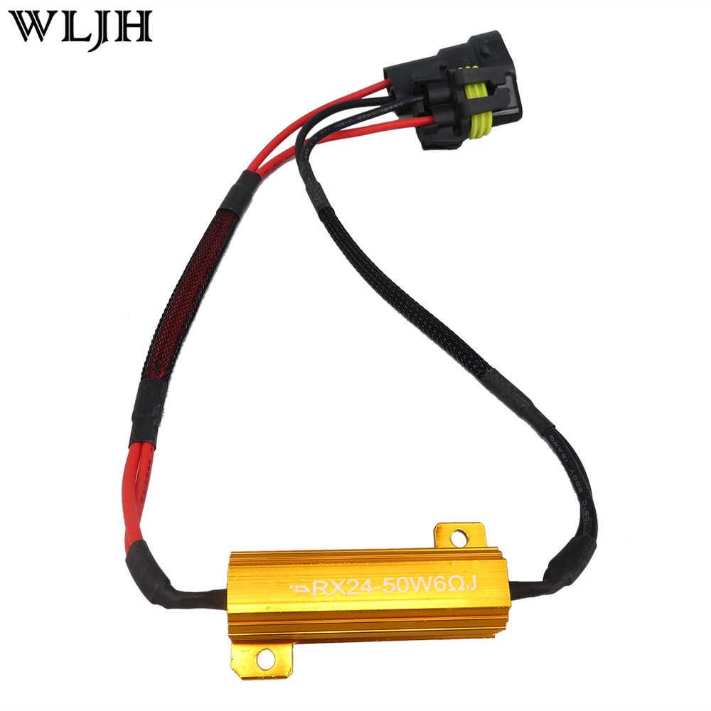 WLJH 2x 9005 9006 H7 H8 Led 50W 6Ohm LED Lamp Load Resistor Fix Errors Hyper Flash Blink Blinker DRL Fog Turn Signal Brake Bulb
