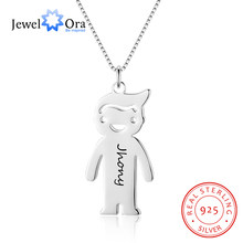 Cartoon Humanoid Design Personalized Engrave Name Necklace 925 Sterling Silver Necklaces & Pendants (JewelOra NE102385)(China)