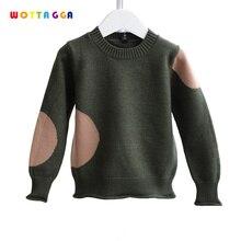 WOTTAGGA/детская одежда для мальчиков, свитера с оборками, детский вязаный кардиган, Лоскутная шерстяная верхняя одежда, повседневная осенняя одежда с круглым вырезом, От 3 до 7 лет