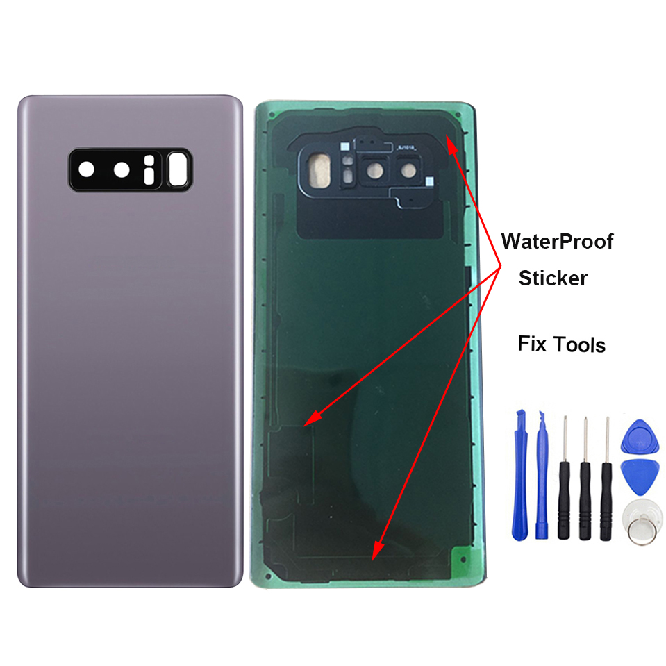 LOVAIN 1Pcs For Samsung Galaxy Note8 Note 8 Back Battery Cover Rear Door Glass Housing+Camera Frame+Adhesive Sticker+imei Print