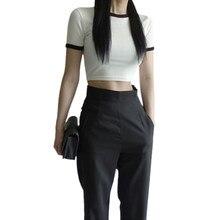 T-shirt manches courtes en coton pour femmes, haut court uni-couleur, col rond, slim, taille haute, blanc, vêtement de sport pour dames
