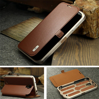 Luxuxy Genuine Leather Protective Flip Magnetic Phone Cover Case For Samsung Galaxy S4 I9500 Aluminum Metal