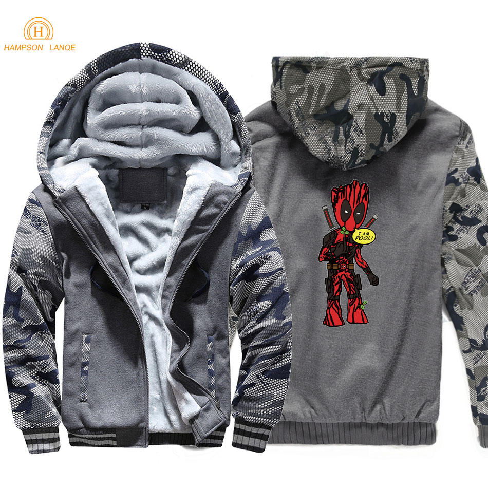 Superhero Movie Deadpool & I Am Groot Men Hoodies 2019 Autumn Winter Hot Thick Camouflage Men's Sweatshirts Plus Size Jackets