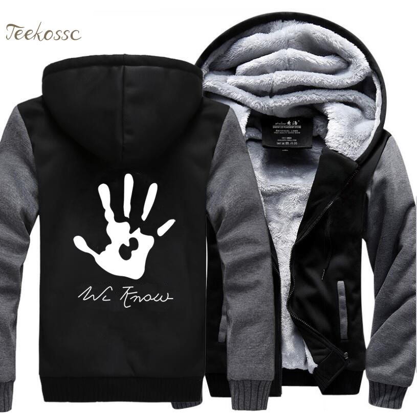 Skyrim Dark Brotherhood We Know Hand Hip Hop Hooded Men 2018 New Fashion Winter Warm Fleece Thick Zipper Hoodie Coat Streetwear in Hoodies amp Sweatshirts from Men 39 s Clothing