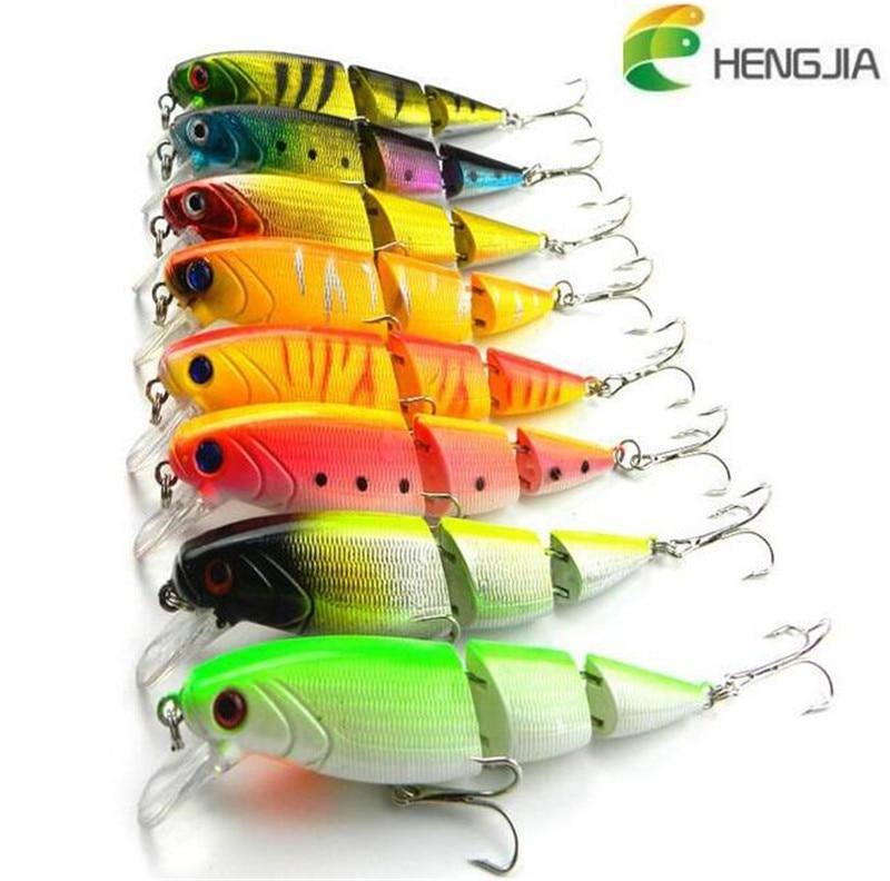 HENGJIA 3 Segment Hard Fishing Lure 10.5cm 14g Plastic Artificial Bait with 6# Hooks Swimbait Crankbait Lure