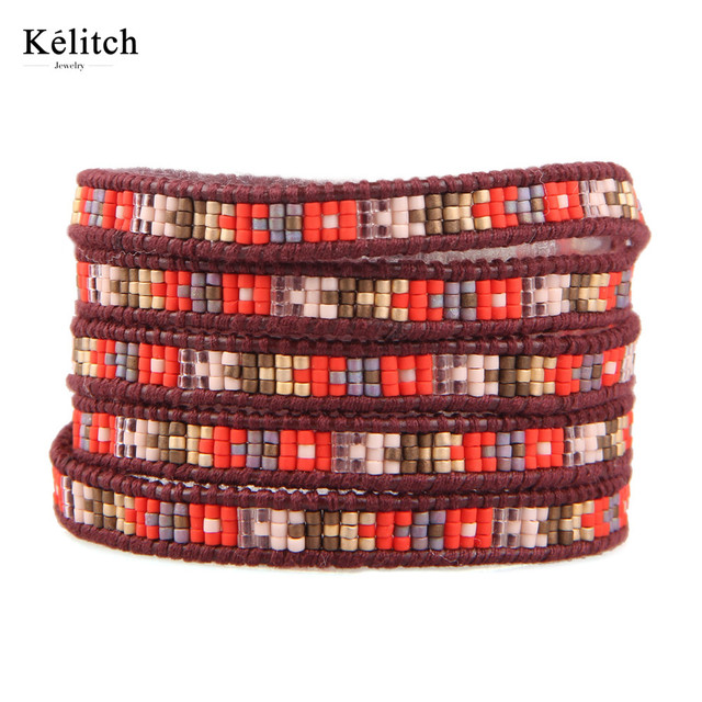 Kelitch Euramerican Creative DIY Handmade Seed Beads Leather Multilayers Beautiful Summer Cuff Bracelets For Women Gifts