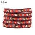 Kelitch Seed Beads Multilayers Cuero Hermoso Verano Euramerican Creativo DIY Hecho A Mano Brazaletes de Puño Para Las Mujeres Regalos