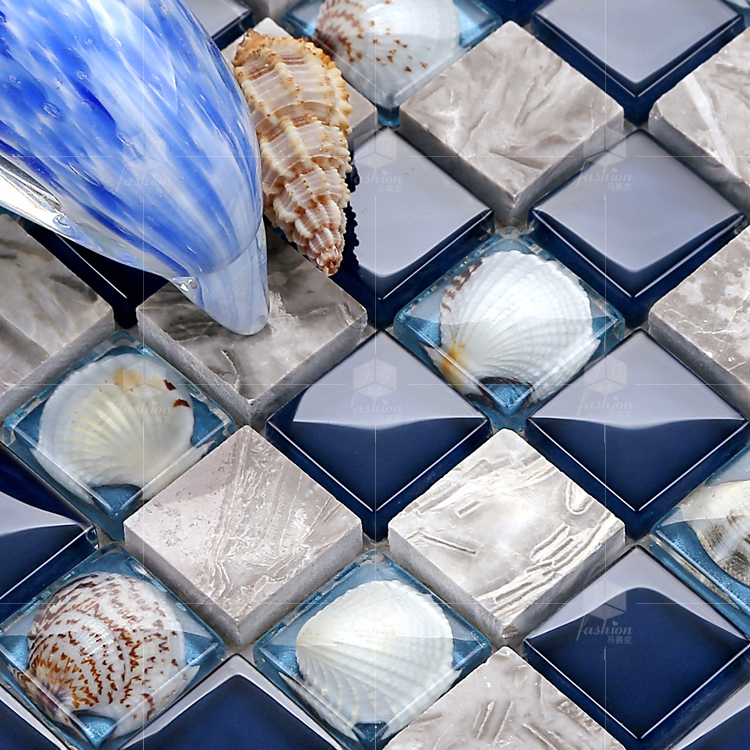glass stone shell mosaic tile mirror tv background wallpaper puzzle fashion parquet kitchen
