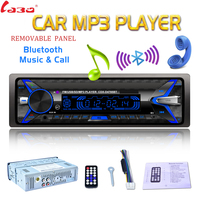 Removable Panel 7 Color Light Car Radio 12V 1 Din Bluetooth Audio Stereo MP3 Player High