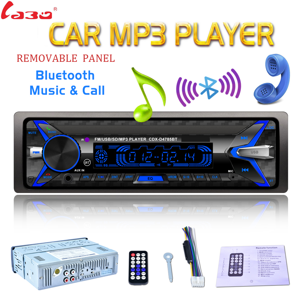 Removable Panel 7 Color Light Car Radio 12V 1 Din Bluetooth Audio Stereo MP3 Player High Quality Support SD / FM / USB / AUX