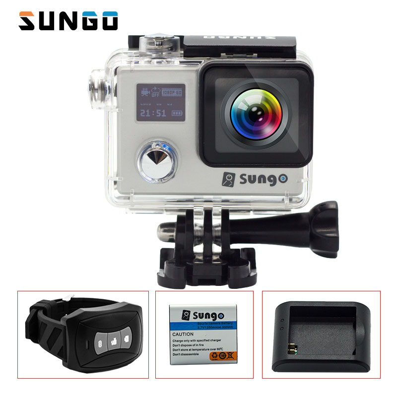 SUNGO Action Camera 4k waterproof Remote WiFi  Ultra HD 1080P /30fps  2.0 170D Novatek96660 Sport mini cam Helmet f88 action camera black