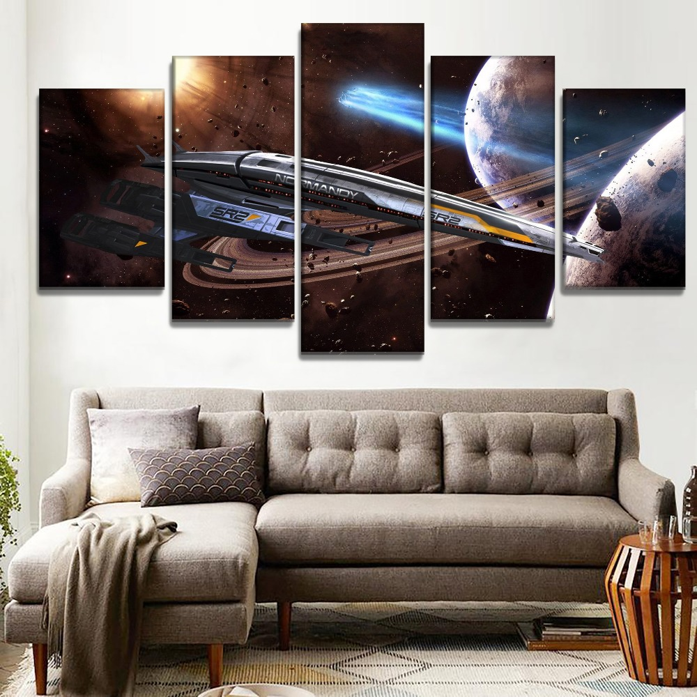 Modern Decorative Bedroom Wall 5 Piece Large Mass Effect Normandy SR-2 Game Poster High Quality Canvas Art Print Modular Picture(China)