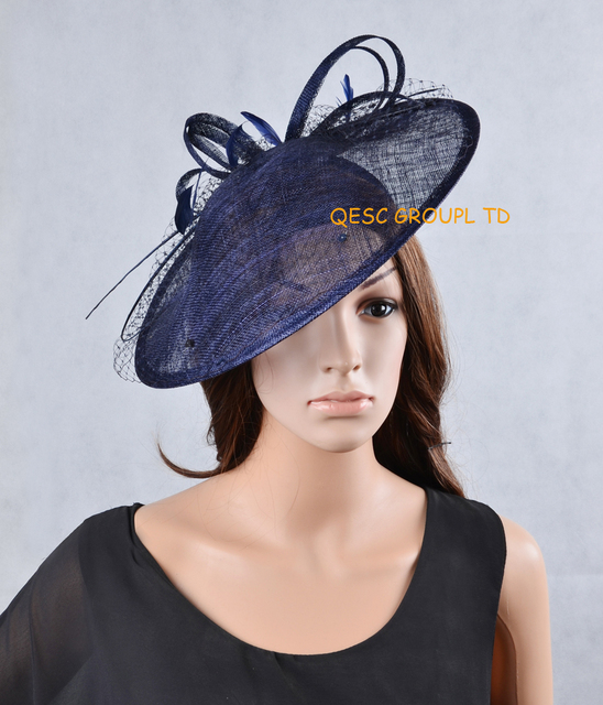 2017 New 17 Colours Navy Blue Sinamay Fascinator Hat For Kentucky Derby Wedding Party