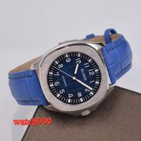 39mm BLIGER blue dial Solid case sapphire glass date mechanical automatic men's watch Leather strap