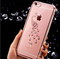 Luxo dourado suave casos de telefone para o iphone 6 6 s/plus caso iphone7 7 plus cristal transparente diamante brilhante electroplate capa