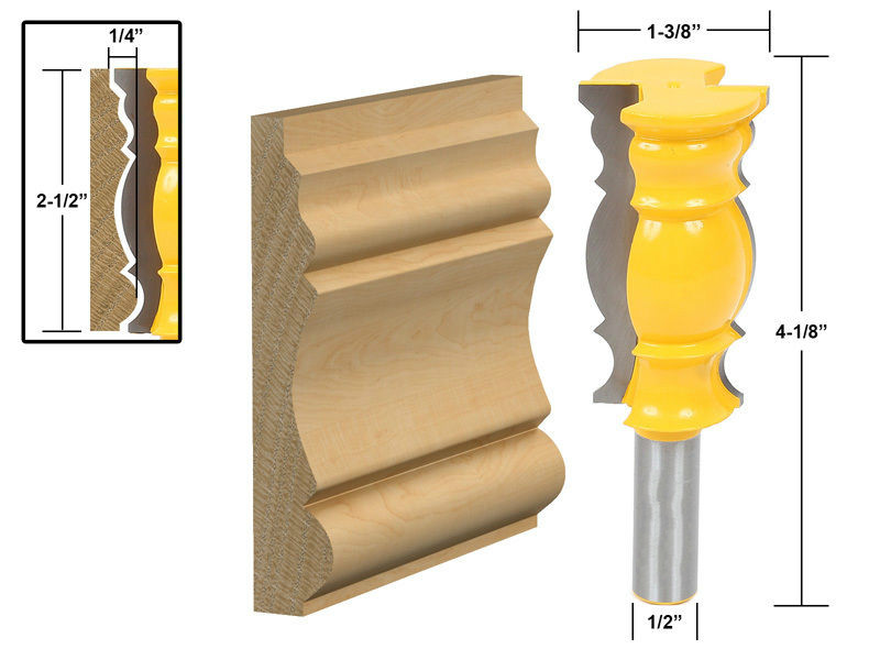 1pcs 12.7mm 1/2 inch Huge Crown Molding router Bit/wood router table/Woodworking Milling Cutter/carbide end mill  Tools for Wood mayitr woodworking cutter bit 1 2 shank engraving molding router bit shaker for wood milling cutter