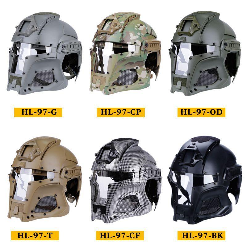 Tactique militaire Paintball médiéval fer guerrier casque intégré Rail NVG linceul transfert Base rétro helme