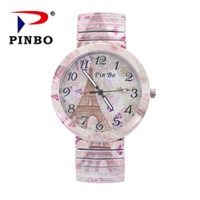 Бренд PINBO, Модные Винтажные креативные эластичные часы с Парижской башней, повседневные женские кварцевые часы с браслетом, Relogio Feminino, подарок, Reloj
