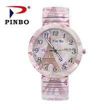 524acb99db2 Pinbo marca de moda do vintage criativo paris torre relógio elástico  mulheres casuais pulseira relógio quartzo relogio feminino .