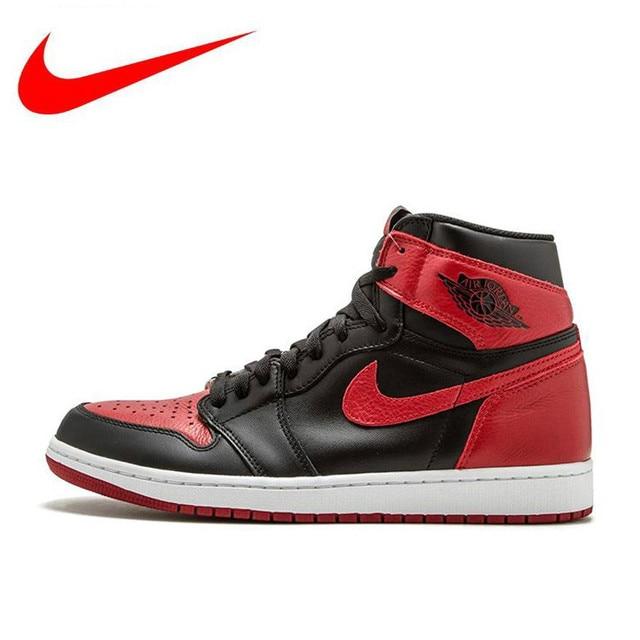 wholesale dealer 0c397 6cc3f Original Nike Air Jordan 1 OG Banned AJ1 Basketball Shoes,Original Male  Outdoor Leather Sports