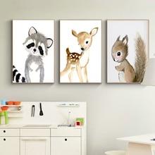 Детская Лесной стены книги по искусству кролик рисунок оленя на холсте Детские постеры с животными и принты нейтральный белка фотографии для гостиная