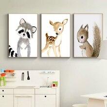 Arte de pared de bosque para guardería, lienzo de conejo, ciervo, pintura para bebé, carteles de animales e impresiones, imágenes neutrales de ardilla para sala de estar