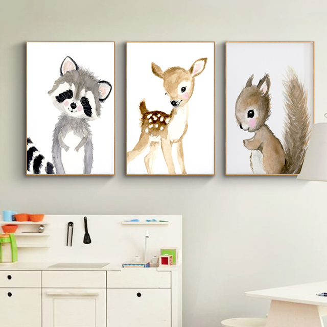 Nursery Woodland Wall Art  Rabbit Deer Canvas Painting Baby Animal Posters and Prints Neutral Squirrel Pictures for Living Room