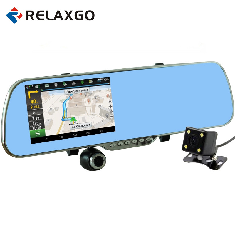 Relaxgo 5 Android Car Camera GPS Navigation Wifi Rearview Mirror Car DVR Full HD 1080P Dual Lens Parking Auto Video Recorder 5 ips touch screen car dvr android 4 4 2 1g and 8g gps navigation mirror car dvr dual lens camera rear parking wifi fm transmit