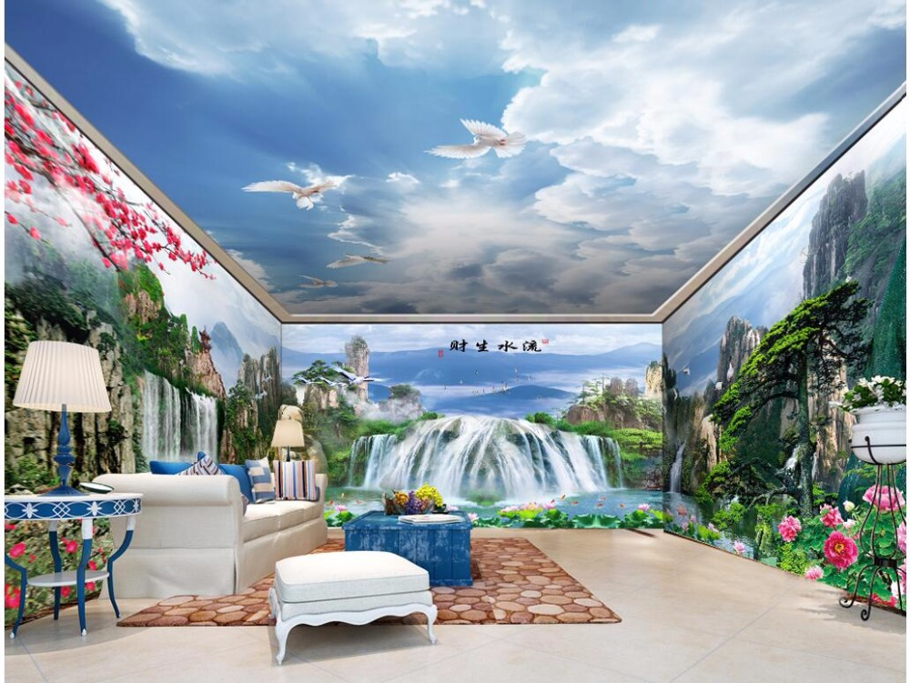 custom mural photo 3d wallpaper Landscape waterfall theme space 3D full house 3d wall murals wallpaper for wall 3 d print fabric