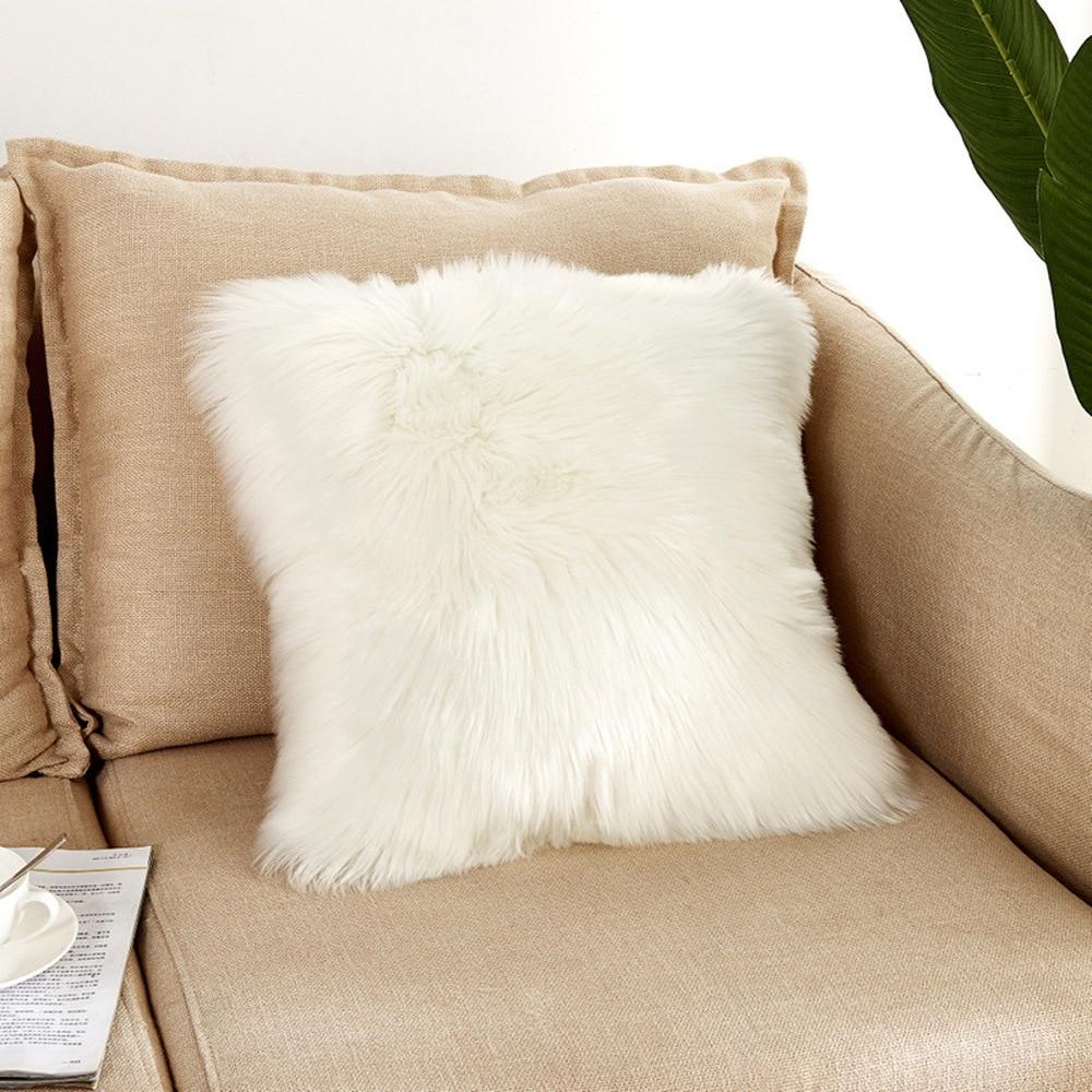 Faux Fur Throw Pillow Cover Fluff Plaid Cushion Cover Plush Pillow Case for Sofa