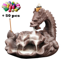 T Newest Dragon Backflow Incense Censer Ceramic Lotus Burners Home Decor Xmas Gift Tea Pet Room Ornaments