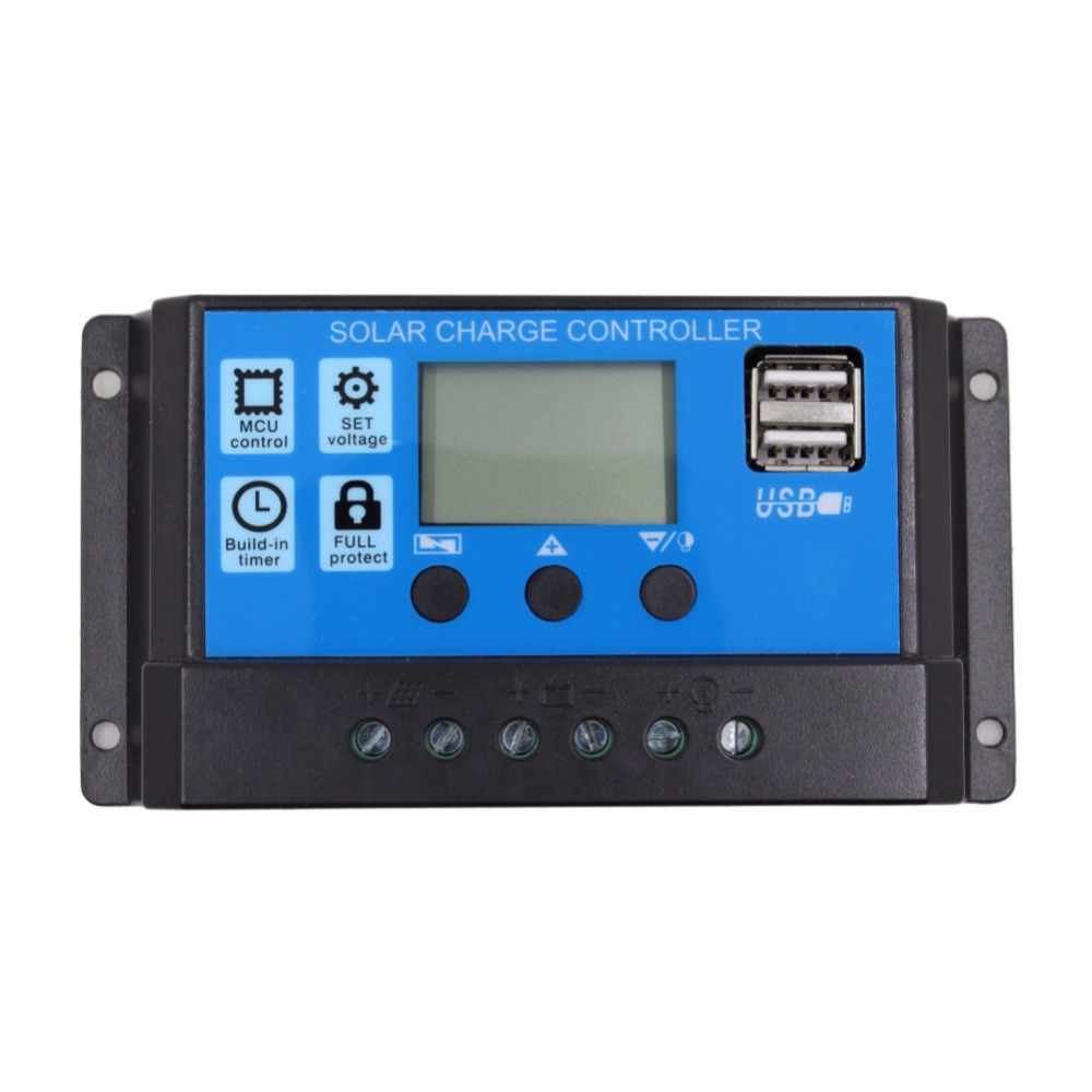 24V 12V Auto <font><b>Solar</b></font> Panel Battery <font><b>Charge</b></font> <font><b>Controller</b></font> <font><b>30A</b></font> 20A 10A <font><b>PWM</b></font> LCD Display <font><b>Solar</b></font> Collector Regulator with Dual USB Output image