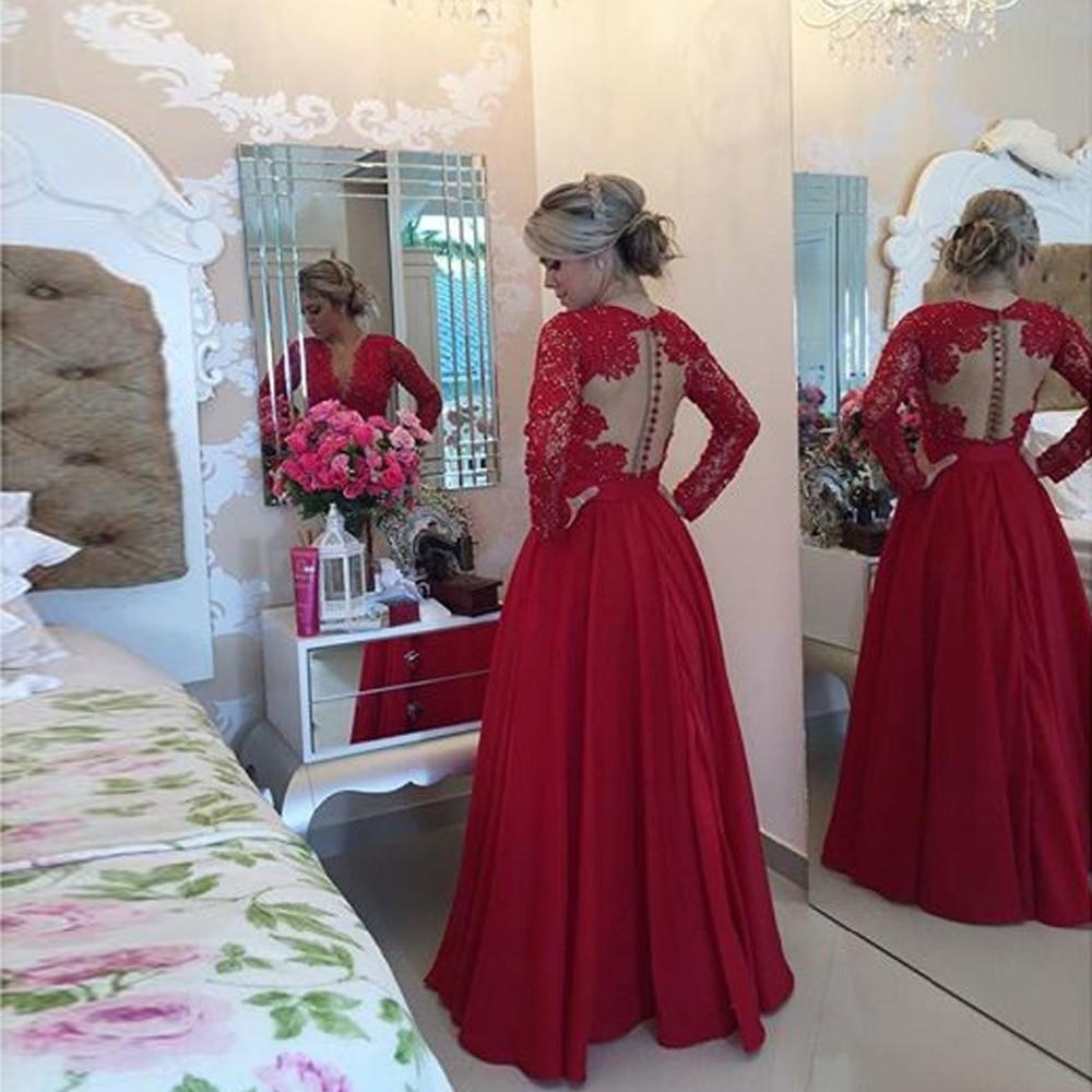 Fabulous-Long-Sleeve-Lace-Top-Red-Chiffon-Sexy-Prom-Dresses-Vestido-De-Festa-Longo-Cheap-Sheer (1)