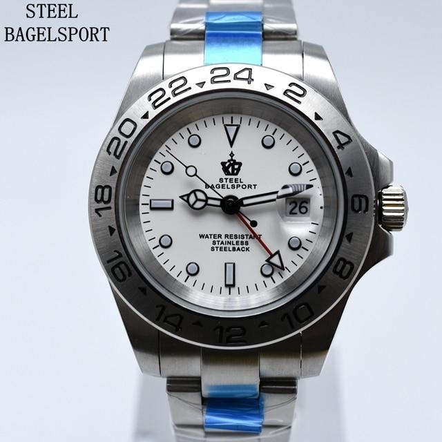 135a45fe9bf STEELBAGELSPORT Mens Relógios Top Marca de Luxo de Alta Qualidade de Aço  Completo Relógio Mecânico Automático